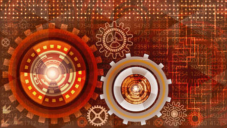 Abstract futuristic technology background with gears in red, orange, white and yellow shades. Digital technology and engineering concept design Çizim