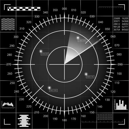 Digital radar screen with targets and futuristic user interface of black, grey and white shades