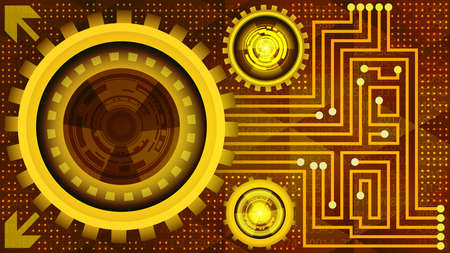 Abstract futuristic technology background with gears in red, orange and yellow shades. Digital technology and engineering concept design