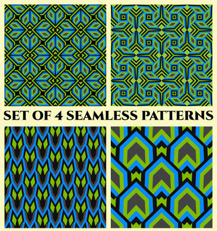 Abstract trendy decorative seamless geometrical patterns of green, blue, black and grey shades