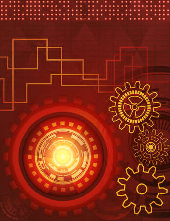 Abstract background of futuristic technology with gears in red, orange and yellow shades. Digital technology and engineering concept design