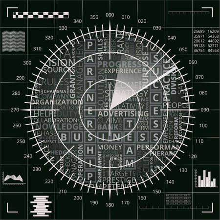 Radar screen with different business words of black, grey and white shades Çizim