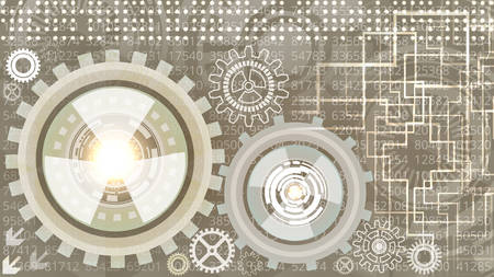 Abstract futuristic technology background with gears in grey and white shades. Digital technology and engineering concept design