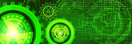 Abstract futuristic technology banner with gears of green and yellow shades. Digital technology and engineering concept design