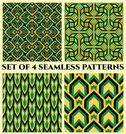 Abstract decorative seamless geometrical patterns of green, yellow, blue and black shades