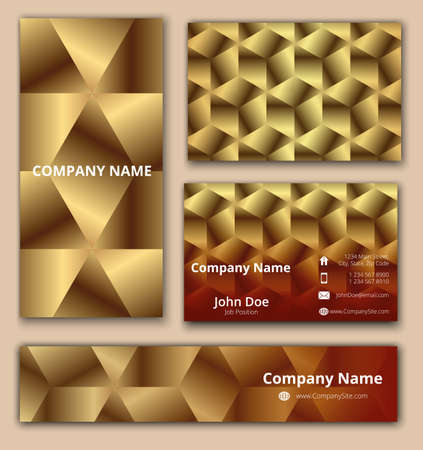 Corporate identity set of business card, banner and invitation card with luxury 3D geometrical design in golden and brown shades