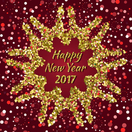 Happy New Year 2017 card with confetti on dark red background