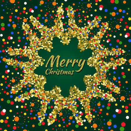 Merry Christmas card with colorful confetti on dark green background