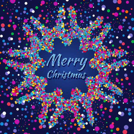 Merry Christmas card with colorful confetti on dark blue background Stok Fotoğraf
