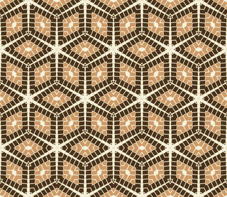 Abstract deluxe rhombus seamless pattern in white and brown shades Stok Fotoğraf