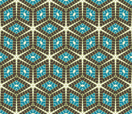 Abstract contemporary rhombus seamless pattern in blue, grey, white and green shades Stok Fotoğraf
