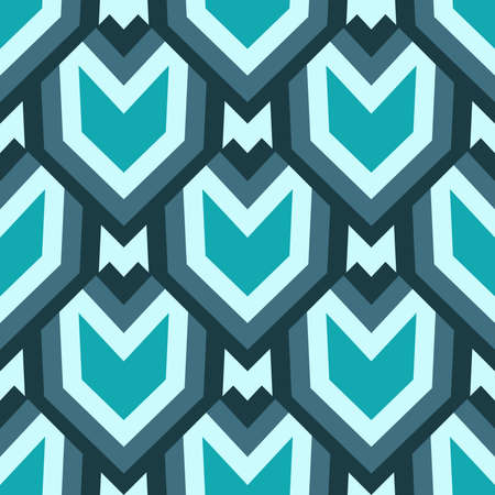 Abstract trendy decorative seamless geometrical pattern of teal and blue shades