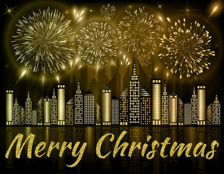 Merry Christmas background decorated with fireworks exploding in night sky over downtown city with reflection in water of golden shades Stok Fotoğraf