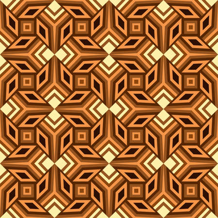 Abstract decorative seamless geometrical pattern of beige, brown and orange shades