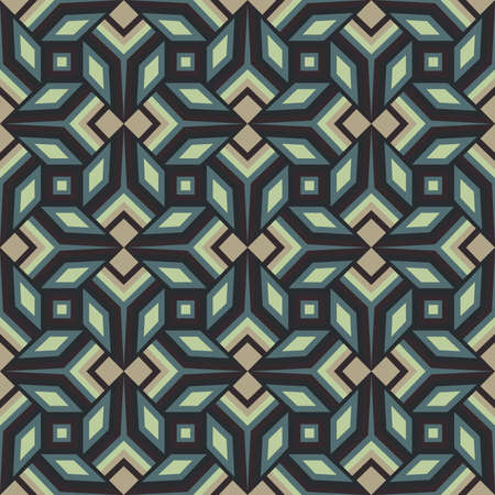 Abstract trendy decorative seamless geometrical pattern of grey, green, brown and dark burgundy shades