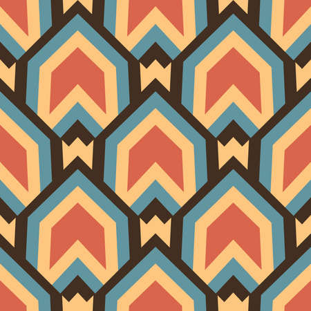 Abstract vintage decorative seamless geometrical pattern of red, orange, blue and brown shades