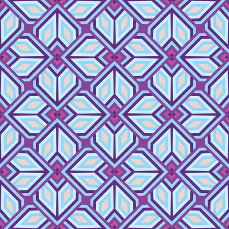 Abstract modern decorative seamless geometrical pattern of violet, blue and white shades