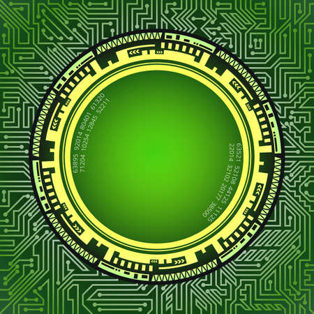 Professional abstract technological frame of green and yellow shades. Digital technology and engineering concept design