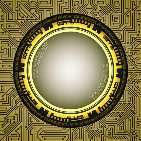 Premium futuristic technology frame of golden shades. Digital technology and engineering concept design Çizim