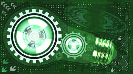 Abstract technological background with light bulb, gears and microchip of green shades. Concept of light bulb with gears inside mechanism. Business background Çizim