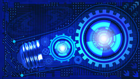 Abstract technological background with light bulb, gears and microchip of blue shades. Concept of light bulb with gears inside mechanism. Business background