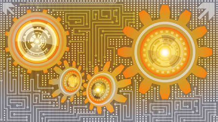 Contemporary abstract background of futuristic technology with gears in orange, yellow, and grey shades. Digital technology and engineering concept design
