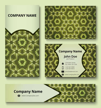Modern design templates set of business card, banner and invitation card with deluxe decoration of green shades. Professional branding design kit. Иллюстрация