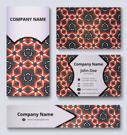 Luxury corporate identity mock-up of business card, banner and invitation card with colorful decorative design. Red, black, grey and white shades. Professional branding design kit. Business stationery set