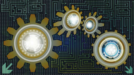 Trendy abstract background of futuristic technology with gears in blue, white and brown shades. Digital technology and engineering concept design Ilustração