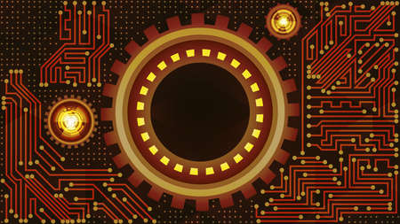 Deluxe abstract background of futuristic technology with gears in brown, yellow, golden and beige shades. Digital technology and engineering concept design Çizim