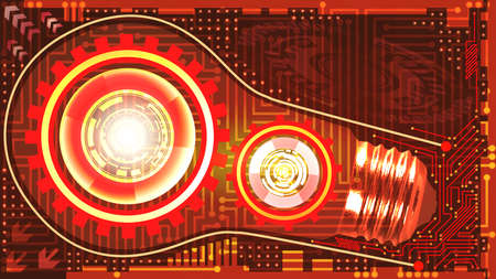 Abstract technological background with light bulb, gears and microchip of red, orange, yellow and white shades. Concept of light bulb with gears inside mechanism. Business background Çizim