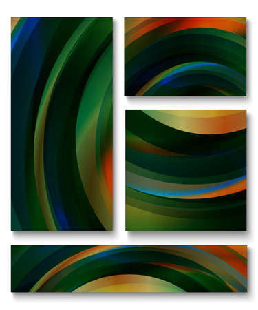 Set of abstract colorful vector backgrounds with dark waves of blue, green, orange, red and yellow shades.