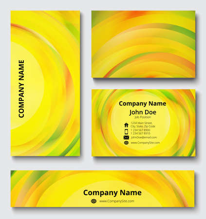 Luxury templates of business card, banner and invitation card with twist decorative elements of red, orange, yellow and green shades. Business documentation kit