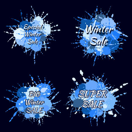 Stylish abstract winter sales splash labels of blue and white shades. Big winter sale. Special winter sale. Vector hand drawing labels. Winter tag