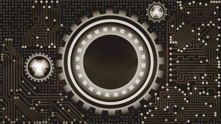 Stylish abstract futuristic technology background with gears in brown, grey and white shades. Digital technology and engineering concept design Çizim