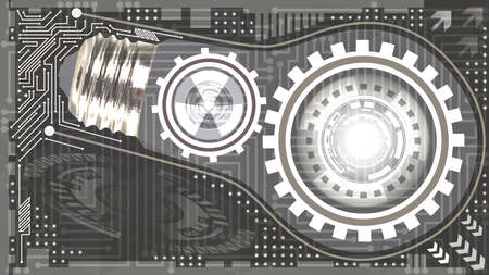Abstract technological background with light bulb, gears and microchip of grey and white shades. Concept of light bulb with gears inside mechanism. Business background Çizim