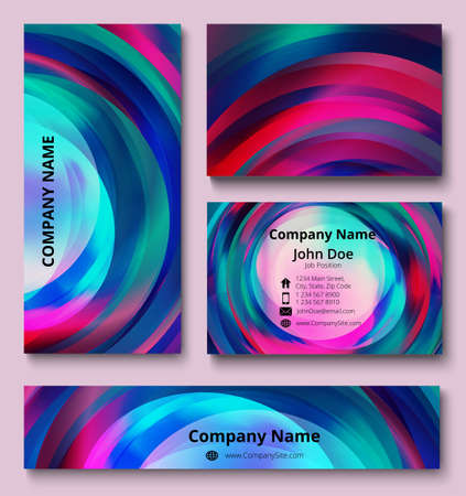 Professional corporate identity set of business card, banner and invitation card with decorative vortex design of violet, red, blue, and green shades. Business stationery set