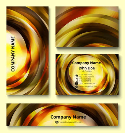 Premium corporate identity set of business card, banner and invitation card with decorative vortex design of brown, yellow, orange and white shades. Professional branding design kit. Çizim