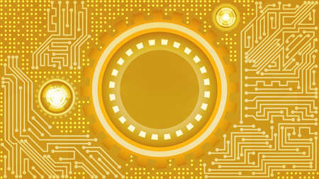 Luxury abstract futuristic technology background of yellow, orange, white, and beige shades. Digital technology and engineering concept design Çizim