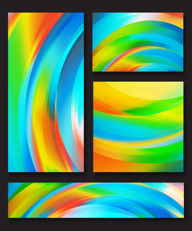 Set of abstract colorful vector backgrounds with waves of blue, orange, green, yellow, red and white shades