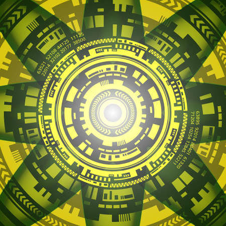 Abstract background of futuristic technology in in yellow and grey shades. Digital technology and engineering concept design