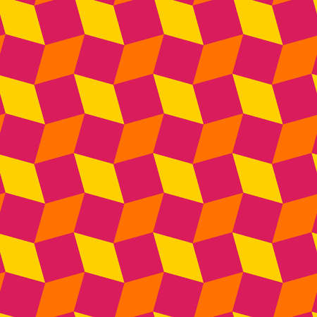Abstract stylish rhombus and square shapes seamless pattern of yellow, orange and magenta colors