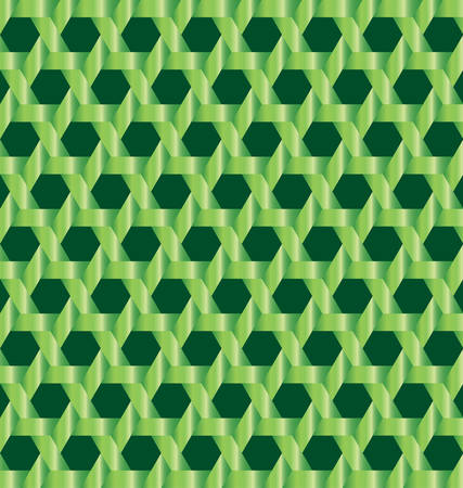 Abstract modern green metallic lattice with hexagon cutout on dark green background