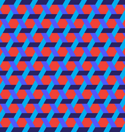 Abstract stylish hexagon shapes and lines background of red and blue shades