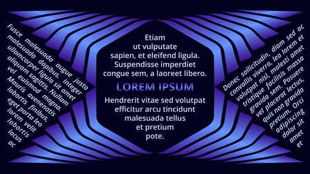 Abstract decorative blue gradient hexagon text frame on dark blue background Çizim