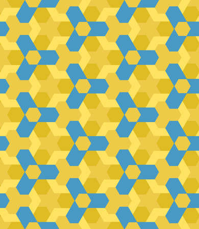 Abstract blue and ochre shades decorative seamless geometric pattern