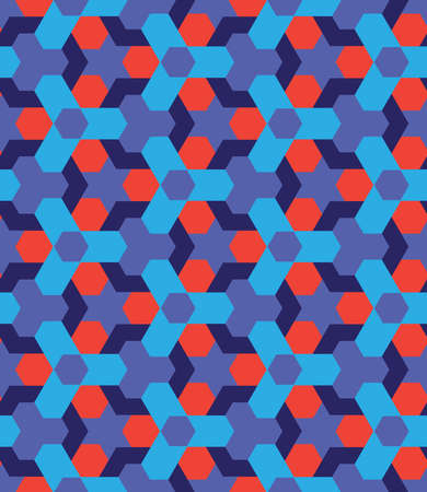 Abstract red and blue shades seamless geometric pattern