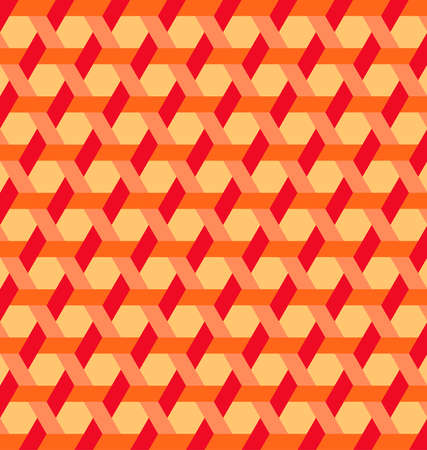 Abstract modern hexagon shapes and lines background of red, orange and yellow shades Çizim