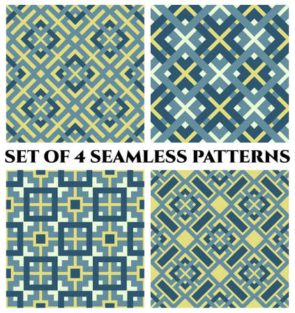 Set of 4 abstract modern geometrical seamless patterns with celtic ornament of blue, yellow, and white shades Stok Fotoğraf - 74622445