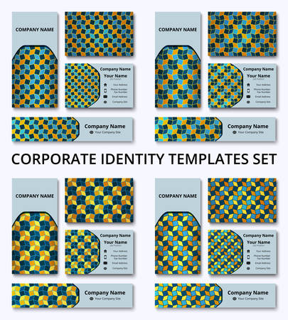 Premium corporate identity set of banner, business and invitation cards in orange, yellow, and blue shades. Professional branding design kit. Stationery templates